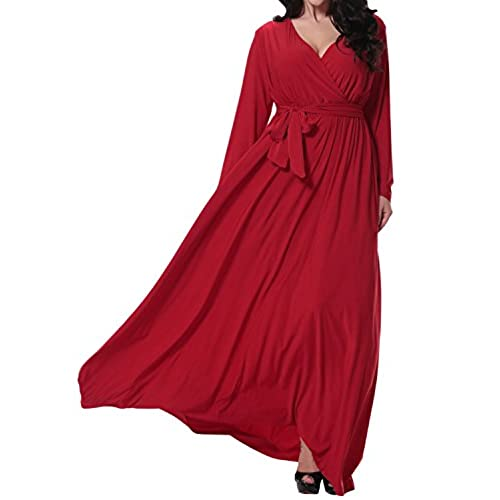Sue&Joe Womens Plus Size Dresses Faux Wrap Long Sleeve Full Length Evening Gown, Red, TagsizeXXL=USsize16W-18W