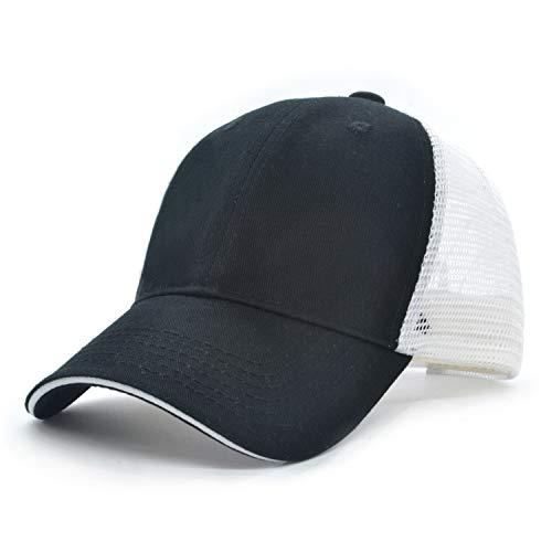 Low Profile Blank Baseball Cap Unisex Women Men Sun Mesh Hat Plain Camo Adjustable Cap (Black + White Grid)