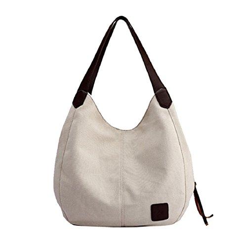 l Solid Canvas Handbags Vintage Female Hobos Single Shoulder Messenger Bags (White) (Gucci Brown Hobo)