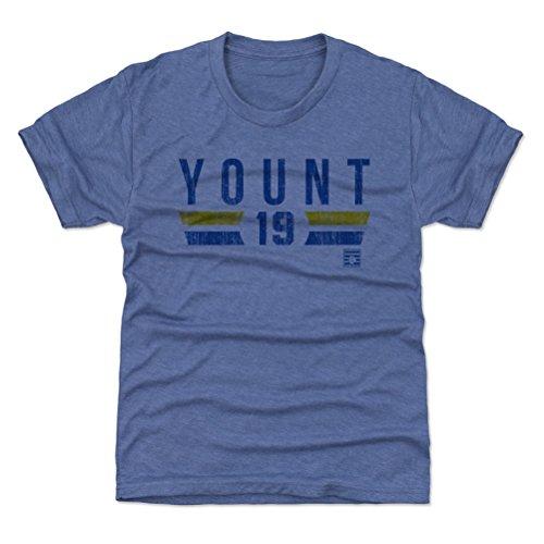 (500 LEVEL Milwaukee Baseball Youth Shirt - Kids Small (6-7Y) Tri Royal - Robin Yount Font B)