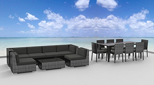 UrbanFurnishing.net 16 Piece Set 16piece Patio Furniture, Charcoal Gray