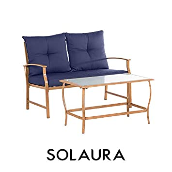 Solaura Patio Outdoor Furniture 2 Piece Loveseat Light Brown Coated Metal Frame Nautical Navy Blue Cushions Glass Coffee Table Bench Sofa