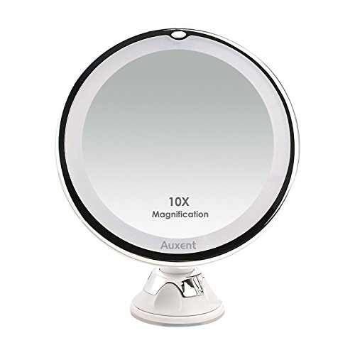 Ab Bathroom Lights (Auxent 10X Magnifying LED Lighted Makeup Mirror Vanity Cosmetic Mirror with 14 Natural White LED, Suction Base & 360° Rotation, Ideal for Bathroom & Travel, Batteries Included)