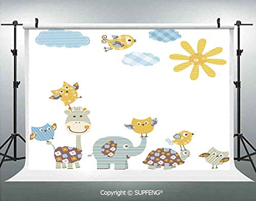 Photo Backdrop Jolly Jungle Creatures Happily Walking in a Sunny Day Cute Animals Decorative 3D Backdrops for Interior Decoration Photo Studio Props