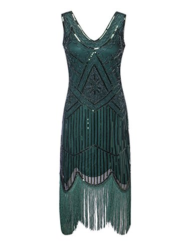 Zhisheng You Roaring 20s Women's Vintage 1920s Sequin Beaded Tassels Flapper Dress V-Neck Fringed Gatsby Costume Dress (L, Green) -