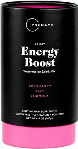 - PREMAMA - Prenatal Energy Boost Drink Mix - Gluten-Free, Vegetarian, and Non-GMO - Watermelon Flavor - 28 Servings