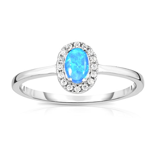 Solid Sterling Silver Synthetic Opal with White Cubic Zirconia Halo Jacket Princess Diana Designer Ring. (7)