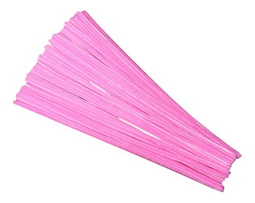 50 Bubblegum Pink Craft Pipe Cleaners 30cm x 6mm by Kids B Crafty