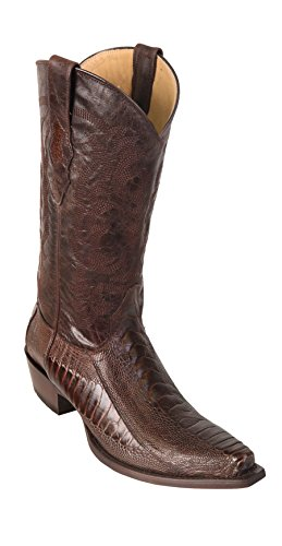 Men's Sinp Toe Brown Genuine Leather Ostrich Leg Skin Western Boots - Exotic Skin Boots