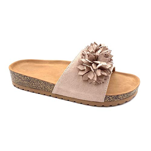 pom Confortable Mode Talon Tong 2 5 Pom Ouvert Chaussure Rose Plateforme Fleurs Mule Plat Cm Femme Angkorly Xz1HxSq
