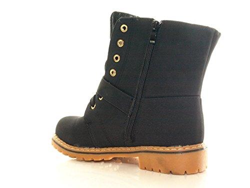 Damen Winter Boots Schnürr Stiefel Stiefelette warm gefüttert Schwarz # 9