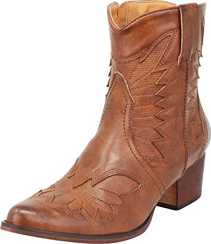 Cambridge Select Women's Western Cowboy Pointed Toe Chunky Stacked Heel Ankle Boot,7.5 B(M) US,Whiskey PU