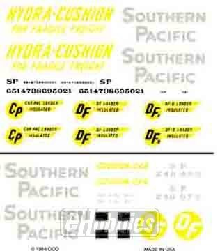 Woodland Scenics Dry Transfer Decals HO Scale Southern Pacific Hydra-Cushion/DF Box Cars by Woodland Scenics