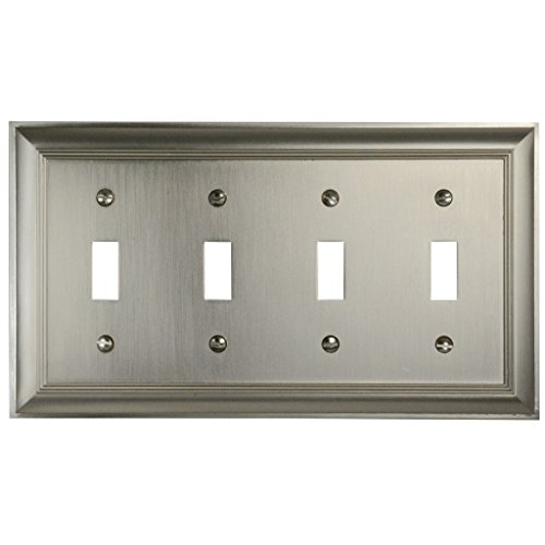 - CKP Brand #31200 Quad Switch Wall Plate, Brushed Nickel