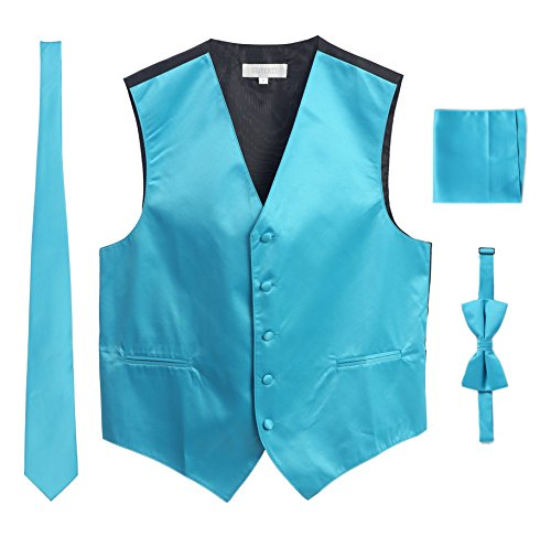 Men's Formal 4pc Satin Vest Necktie Bowtie and Pocket Square, Turquoise, 3X Large (Vest Satin Turquoise Tuxedo)