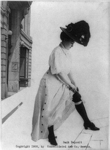 HistoricalFindings Photo: Bank Deposit,Young woman putting $5 bill insider her gartered stocking,c1908 (Stockings Gartered)