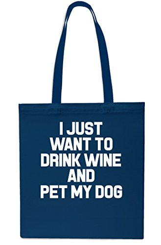 Just Beach Navy Pet And Navy Tote Want Drink I Dog 10 Wine Gym To Bag Small litres My Shopping 42cm x38cm 7Rdwwq