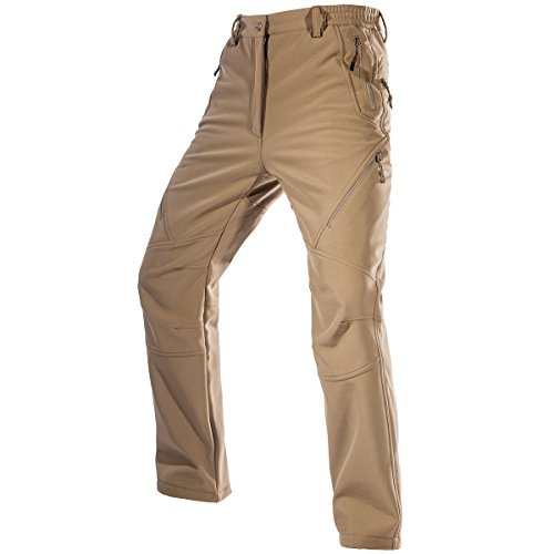 FREE SOLDIER Men's Fleece Lined Water Repellent Softshell Snow Ski Pants with Zipper Pockets(Mud 42W/31L) ()