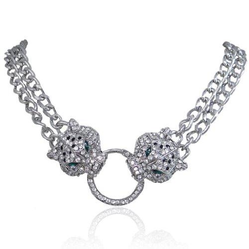 EVER FAITH Silver-Tone Dual Leopard Head Necklace Clear Austrian Crystal