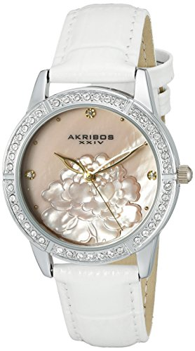 Akribos XXIV Women's AK805 Quartz Movement Watch with Pink Mother of Pearl Dial and White Strap (Silver) (Polished White Dial)