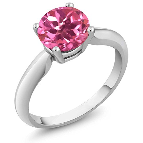 Gem Stone King Sterling Silver Pink Mystic Topaz Women's Solitaire Ring 1.55 cttw, Round 7mm (Size 5)