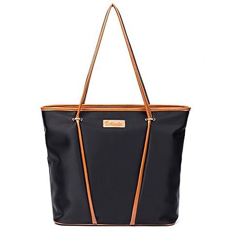 BOSTANTEN Womens Water Resistance Handbags Tote Shoulder Shopper Bags Black with Brown