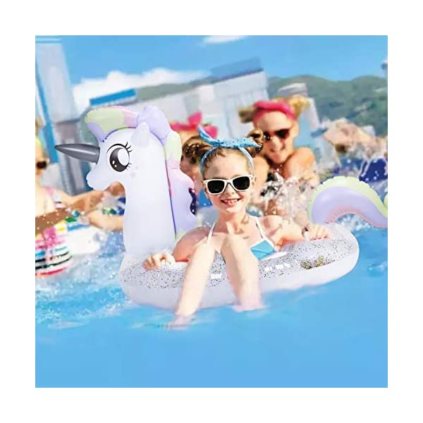 ToyerBee Pool Floats, 45' x 32' x 30', Inflatable Unicorn Tube with Glitters, Swimming Pool Tube, Raft Decorations for… 8