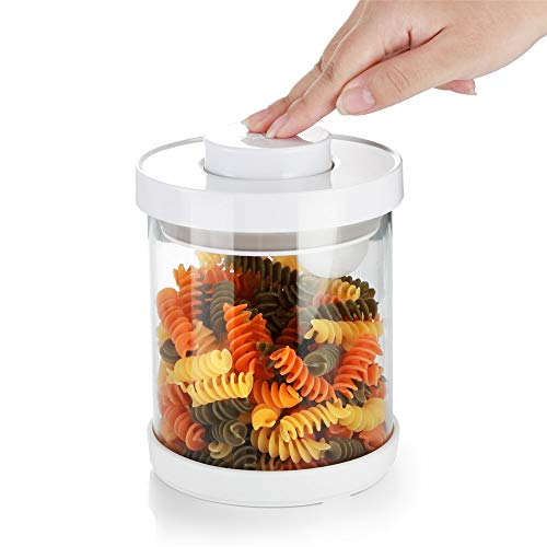 Glass Kitchen Storage Jar Set with Vacuum Pump Lid, BPA-free, Crystal Clear Food Storage Container, Glass Canister Set, Perfect for Dry goods, Snacks, Fresh Herbs, Ingredients and More