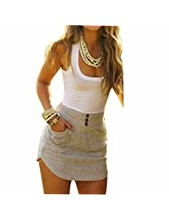 Summer Sexy Sleeveless Patchwork Women Bodycon Slim Mini Short Dress Sundress Robe