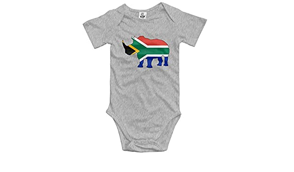South Africa Flag Rhino Baby Unisex 100/% Organic Cotton Layette Bodysuit 0-24 Months