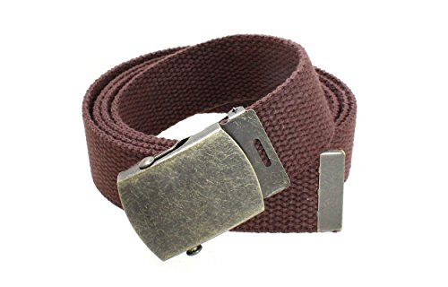 (Canvas Web Belt Military Style with Antique Brass Buckle and Tip 50
