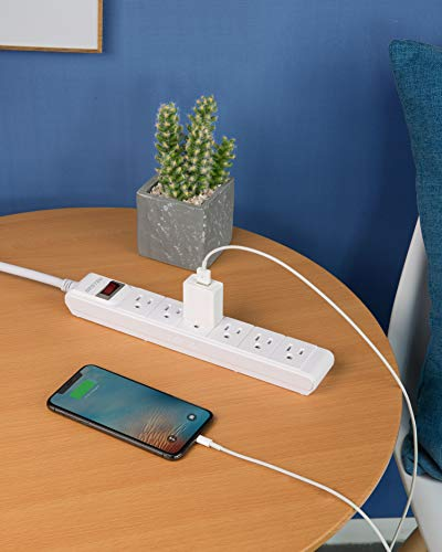 BESTEK 6-Outlet 6 Feet Extension Cord Power Strip 15A 1875W Surge Protector Desktop Charging Station, 200Joules, Right Angle Flat Plug, Ultra-Compact Wide Spaced Multi Outlets Plugs Sockets, White