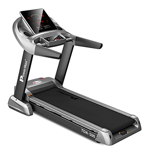 PowerMax Fitness TDA-500 3HP (6HP Peak) Motorized Treadmill with Free Installation Assistance, Home Use & Automatic Incline