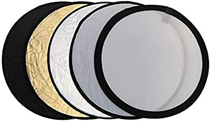 110CM Round Collapsible Multi Disc Light Reflector 5 in 1: Translucent, Silver, Gold, White, and Black for Studio or any Photography Situation