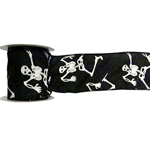 Vickerman Black Skeleton Glow-in-The-Dark Ribbon, 2.5-Inch by 10-Yard, Black and White ()
