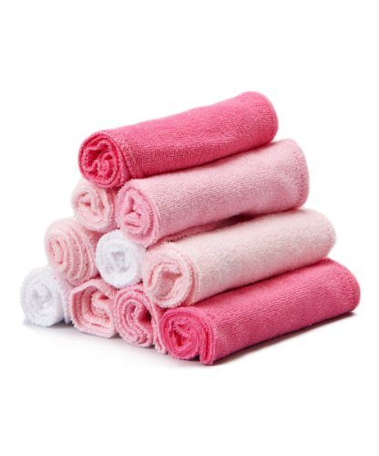 Spasilk 10 pack Soft Terry Washcloth- Pink and (Pink Receiving Blanket)