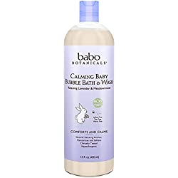 Babo Botanicals Natural Lavender Meadowsweet 3 in 1 Baby Bubble Bath Shampoo Wash - Sulfate Free, 15 Ounce