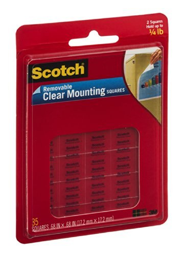 Scotch Removable Clear Mounting Squares EA (Pack of 18) by (18k Mounting)