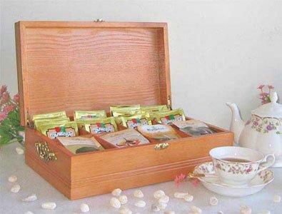 SMALL Tea Bag Chest Storage Cabinet Wood Box, Solid Wood, 8 slots (Oak Finish) (Oak Wood Tea Finish)