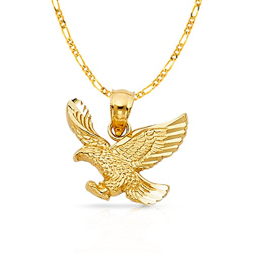 Ioka Jewelry - 14K Yellow Gold Eagle Charm Pendant with 2.3mm Figaro 3+1 Chain Necklace - - Figaro 13mm Gold Yellow Chain