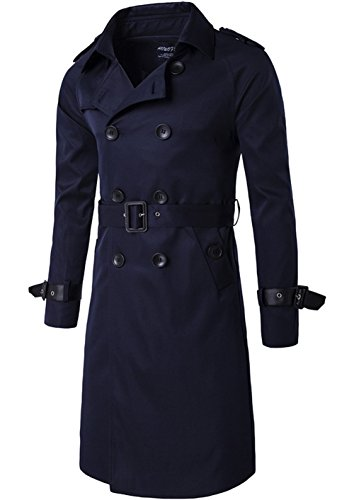 Men's Spring Summer Autumn Slim Fit Double-Breasted Belted Twill Long Windbreaker Coat Canvas Smart Jacket Trench Parka (US L/Tag Asia XXXL, Navy Blue)