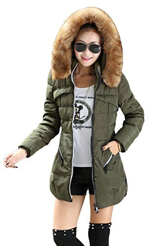 YMING Womens Zip ArmyGreen Hooded Down Jacket Long Coat with Fur Collar L - Elegant Standing Collar
