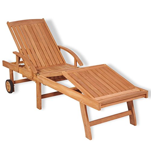 Teak Chaise Lounger Adjustable (BLXCOMUS Patio Furniture Adjustable Footrest Sun Bed Lounger Wood Teak 5-Position Outdoor Recliner Chaise With A Pull-out Table And Two Wheels 76.8