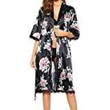 Women Silk Nightdress, Lady Summer Sxey Printed Nightgown Satin Lace Pajamas Lingerie Bathrobe With Belt Casual Dressing Gown
