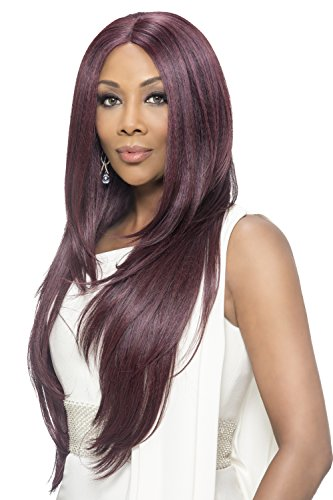 Vivica A Fox Hair Collection Jamie Deep Swiss Lace Front Wig Invisible Lace Part, Cabernet, 12.3 ()
