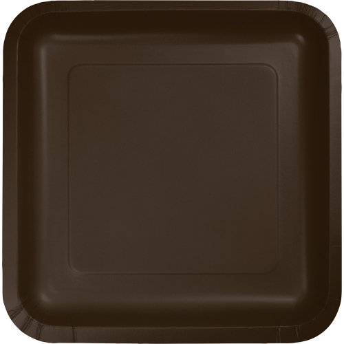 Creative Converting Touch of Color 18 Count Square Paper Lunch Plates, Chocolate Brown - 453038