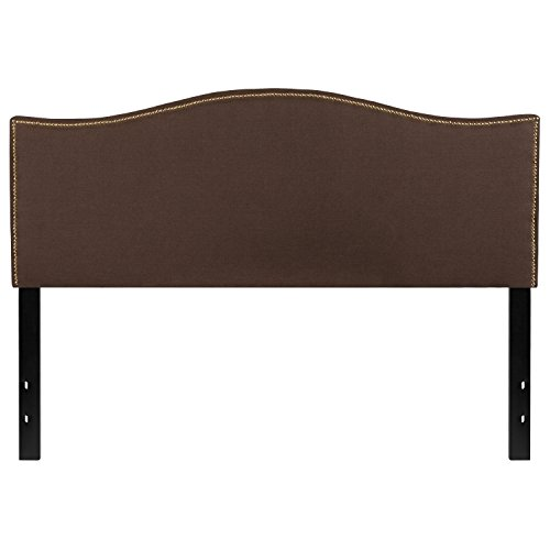 ngton Upholstered Queen Size Headboard with Decorative Nail Trim in Dark Brown Fabric (Brown Queen Panel Bed)