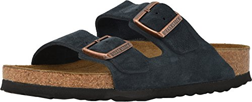 (Birkenstock Arizona Soft Footbed Limited Edition Narrow Sandal - Women's Dark Navy Suede, 37.0)
