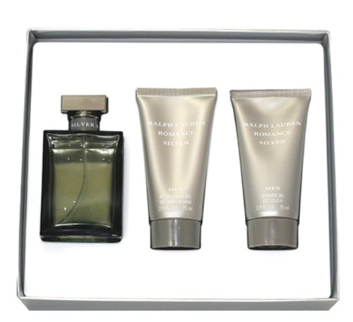 (ROMANCE SILVER by Ralph Lauren SET-EDT SPRAY 3.4 OZ & AFTERSHAVE GEL 2.5 OZ & SHOWER GEL 2.5 OZ for Men)