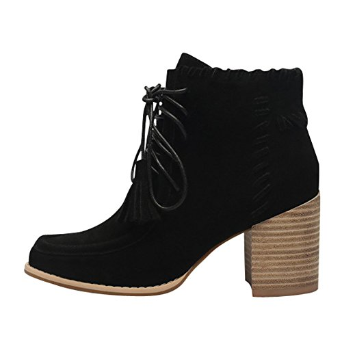 Womens Stylish Genuine Frosted Leather Comfort Stacked Chunky Heel Lace Up Ankle Boots Black Z3BZP